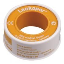 Fixatiepleister Leukopor 5mtrx1,25cm met klemring